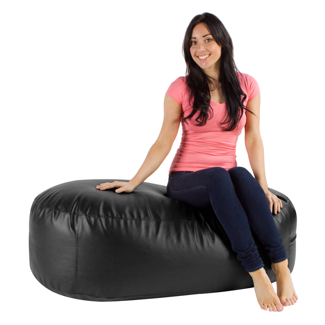 Image of 4ft Bean Bag Ottoman Lounger Faux Leather Black