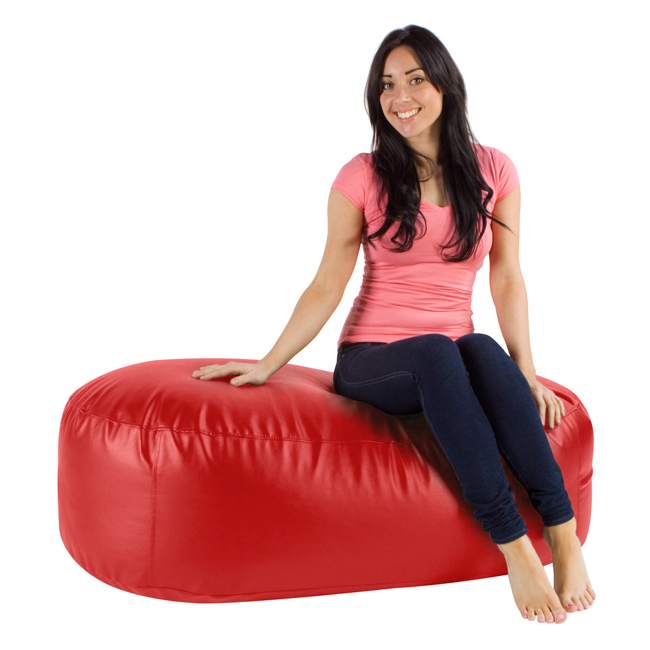 Image of 4ft Bean Bag Ottoman Lounger Faux Leather Red