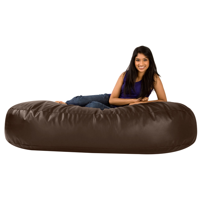 6ft Bean Sofa Lounger Faux Leather Brown