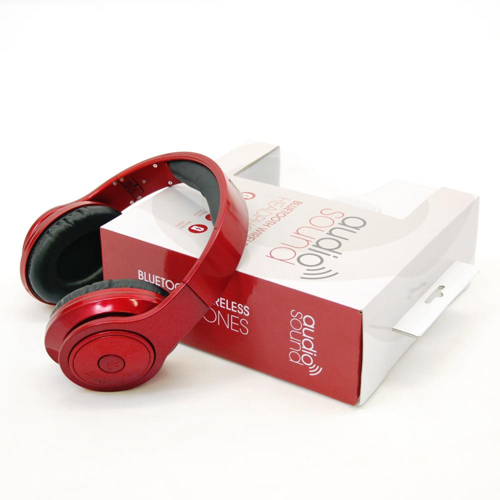 Image of Bluetooth Wireless Headphones Metallic Red