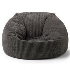 Soft cord bean bag in charcoal grey