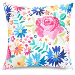 Colourful Folk Floral print indoor outdoor garden cushion