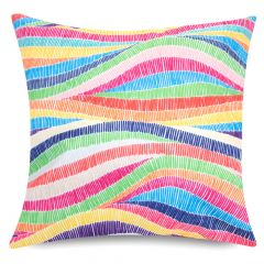 Rainbow wave stripe print indoor outdoor garden cushion