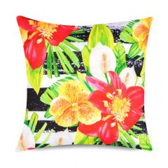 Riviera Stripe floral print indoor outdoor garden cushion