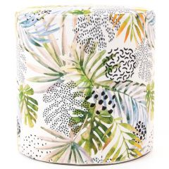 Velvet jungle palm print foot stool