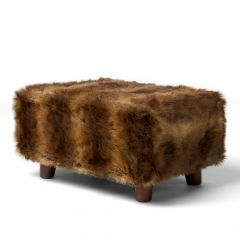 ICON™  Brown Bear Faux Fur Footstool