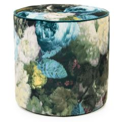 Floral velvet stool with button teal, green, cream, pink