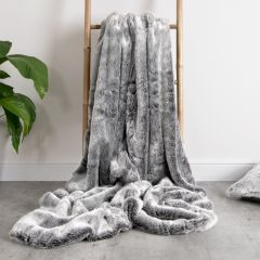 Arctic Wolf Faux Fur Throw on Ladder