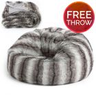 Faux Fur Dome Bean Bag, Bavarian Wolf 2