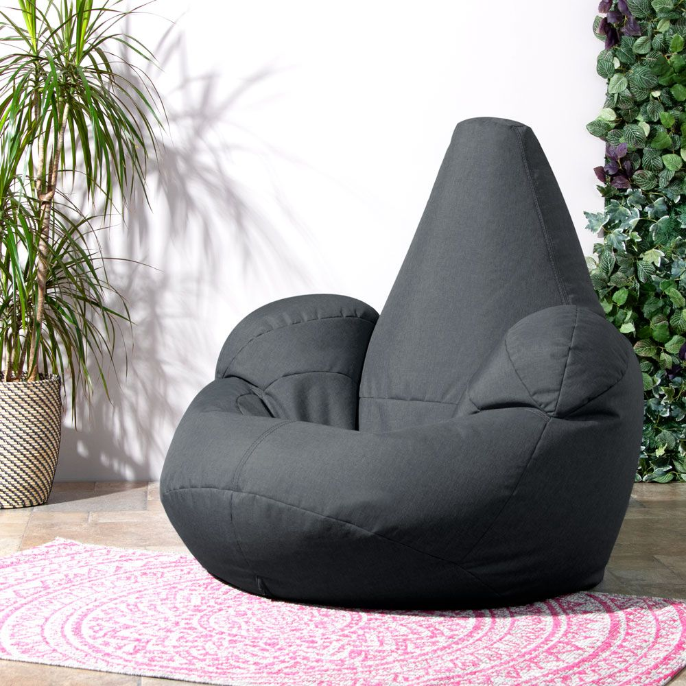 charcoal grey icon recliner indoor  & outdoor bean bag in yard