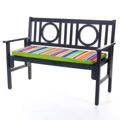 Technicolour stripe bench pad on bench