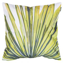 Lime green palm leaf jungle print indoor outdoor garden cushion
