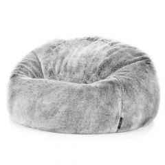 Arctic Wolf Faux Fur Bean Bag