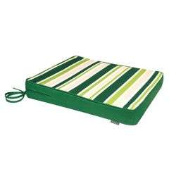 Green and white stripe indoor outdoor seat pad