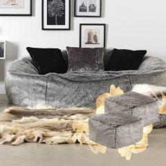 ICON™ Kenai Cloud Faux Fur Bean Bag + Two Pouffes, Arctic Wolf