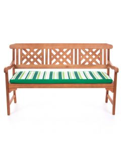 Green and White Striped 3 Seater Large Bench Pad on Bench