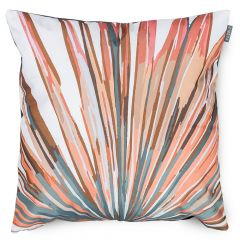 Terracotta palm leaf jungle print indoor outdoor garden cushion