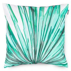 Teal Palm Print Outdoor Cushion