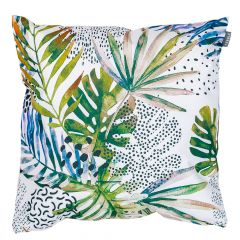 watercolour palm leaf jungle print indoor outdoor garden cushion