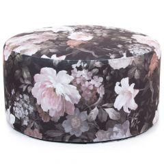 Floral Black Grey and Pink Drum Footstool