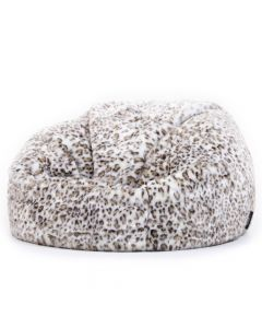 Luxurious Faux Fur Bean Bag in Arctic Wolf side view