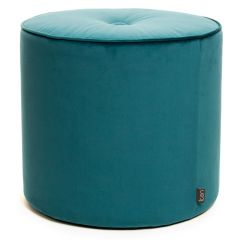Teal round velvet stool with button detail
