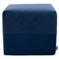 Navy blue velvet square quilted footstool
