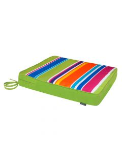 Technicolor rainbow stripe indoor outdoor seat pad