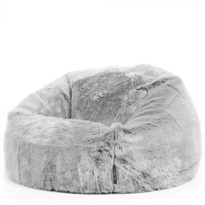 5da7e12338 Luxurious Faux Fur Bean Bag in Arctic Wolf side view