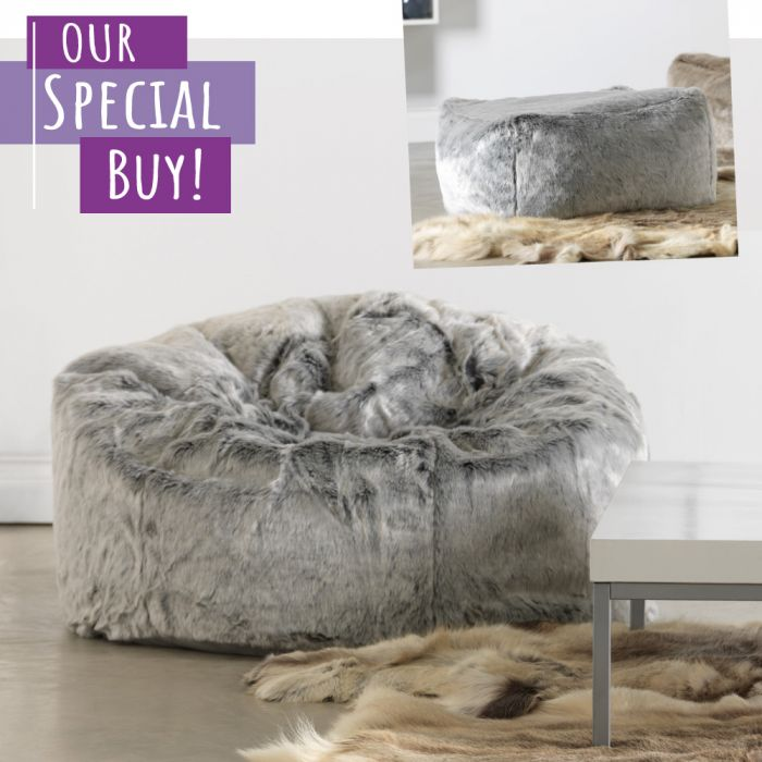 db2909dcdf82 ICON™ Arctic Wolf Faux Fur Bean Bag   Pouffe