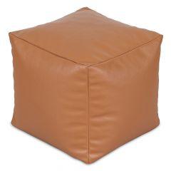 Tan Faux Leather Cube Bean Bag