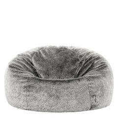 grey fur bean bag