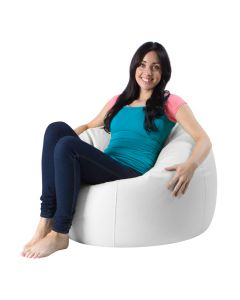 Woman sat on White Bean Bag