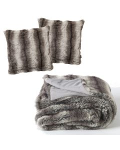 ICON Luxury Bavarian Wolf Faux Fur Bundle, Large Throw + Two Cushions