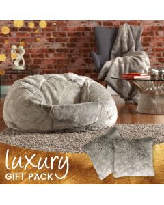 ICON™ Luxury Faux Fur 3 in 1 Gift Bundle, Arctic Wolf