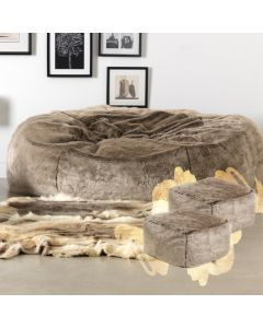 ICON™ Ottawa Cloud Faux Fur Bean Bag + Two Pouffes, Mink