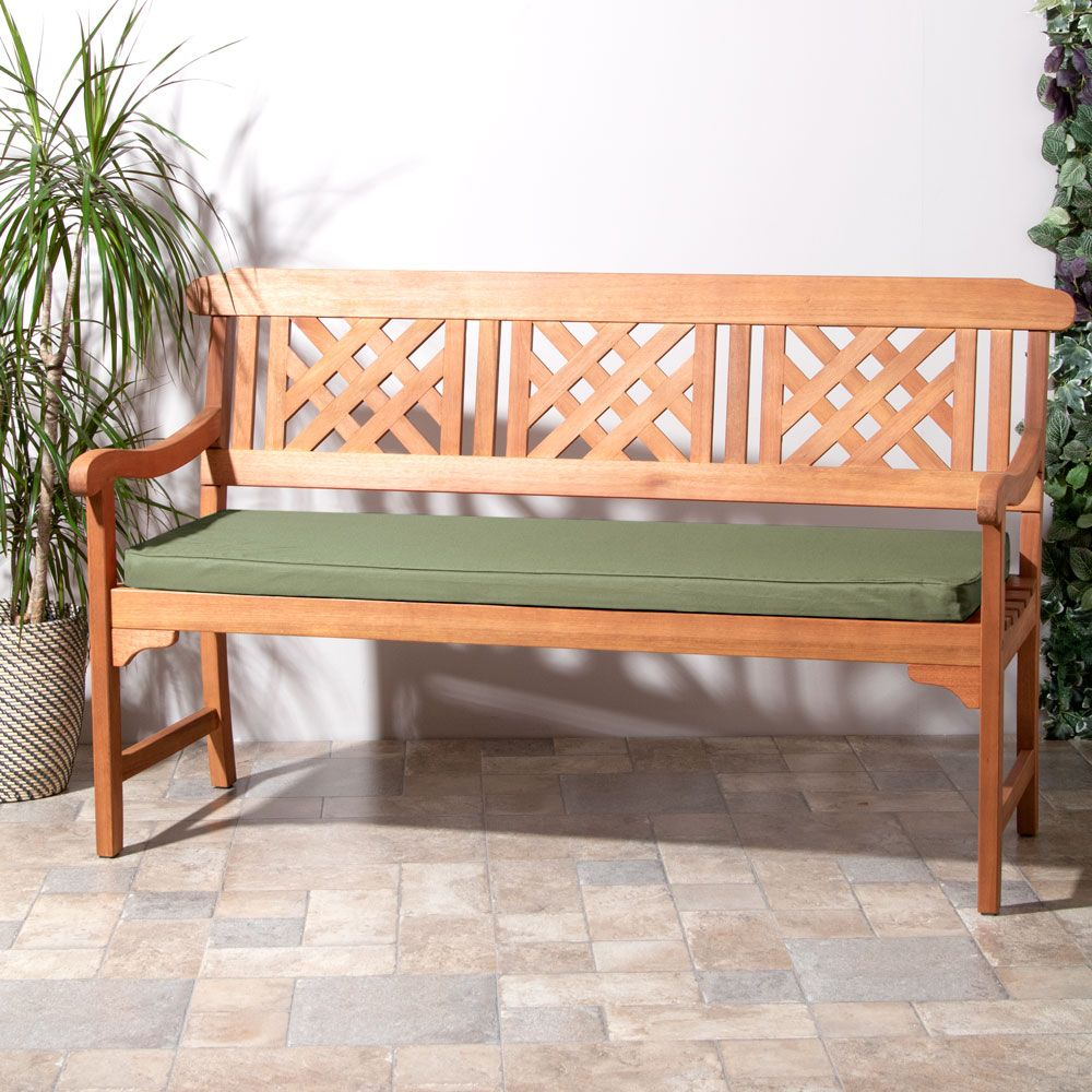 Sage Green Large 3 Seater Indoor Outdoor Bench Pad on Bench in Yard