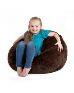 brown faux fur bean bag - classic