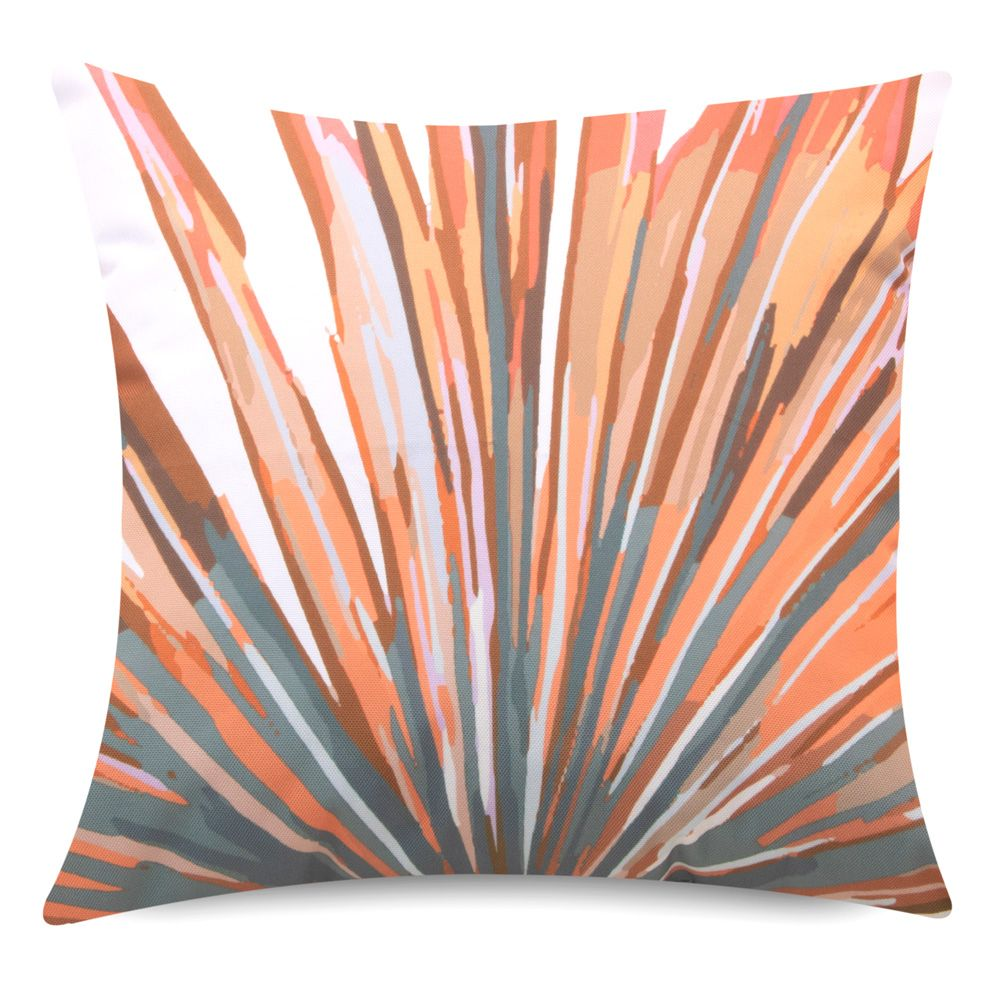 Tropical Bird of paradise print cushion orange and green