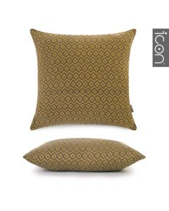 ICON™ Rhombi Knit Cushion, Mustard & Grey
