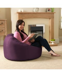 Mulberry Purple Bean Bags in the living room