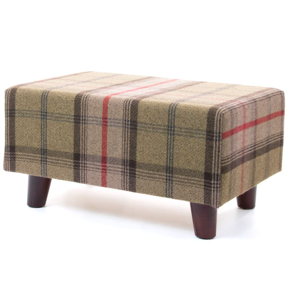 Tartan footstool with legs