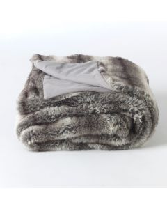 Faux Fur Bavarian Wolf Throw folded white background