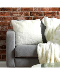 Luxurious Faux Fur Cushion in Cream