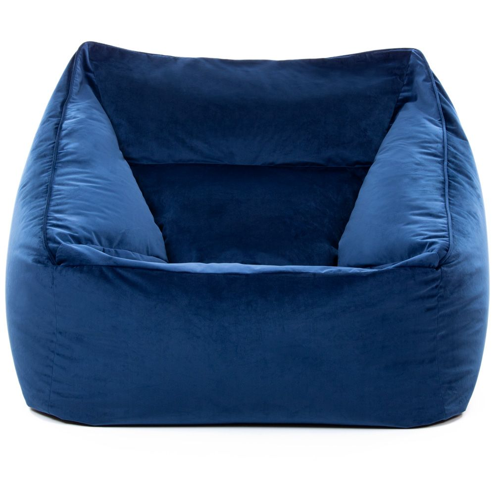 Navy Blue velvet armchair bean bag white background