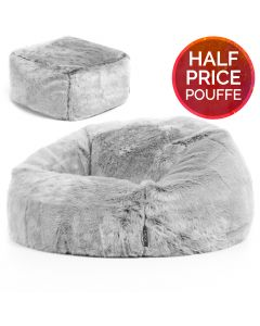 ICON™ Arctic Wolf Faux Fur Bean Bag & Pouffe