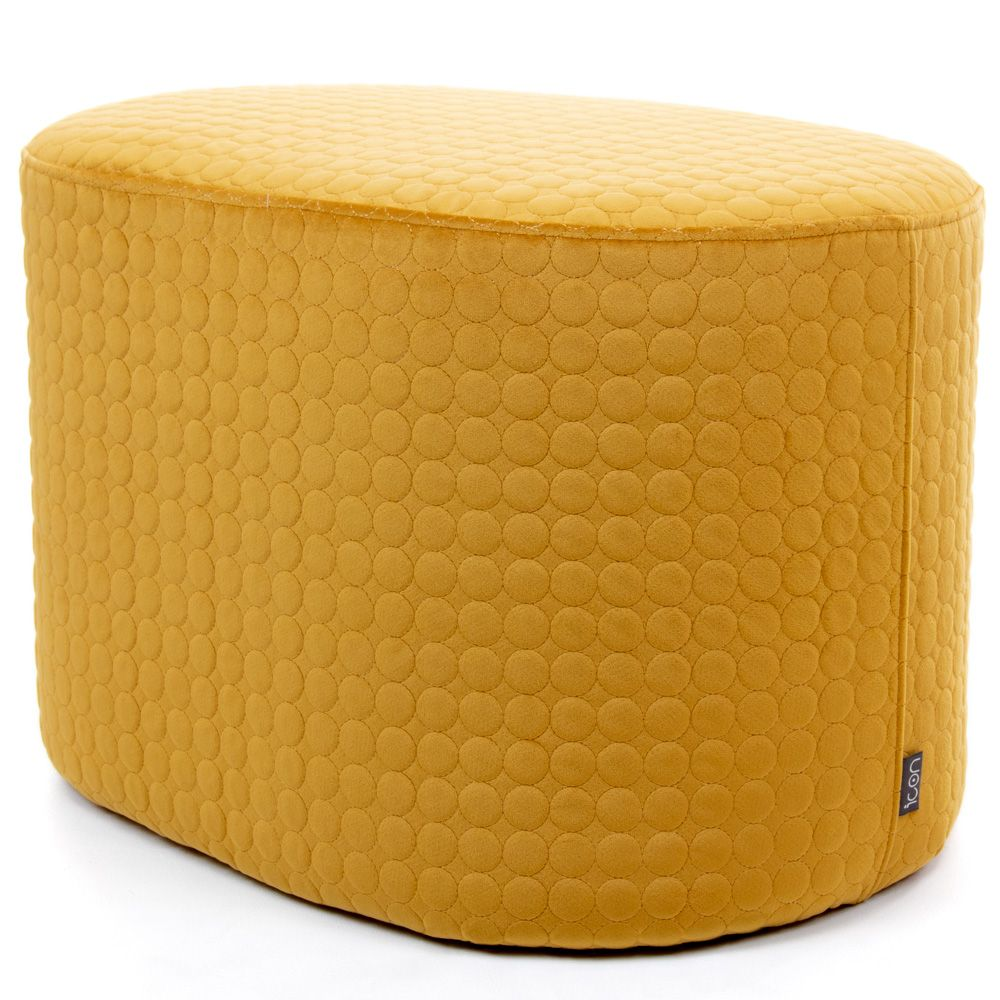 Mustard circle quilted oval footstool