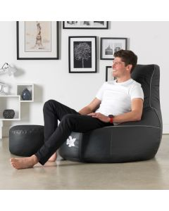 I-eX® Bean Bag Gaming Chair Black/Silver And Footstool