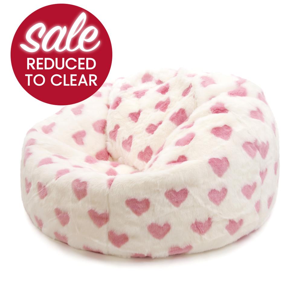 ICON™ Luxury Faux Fur XL Bean Bag Hearts