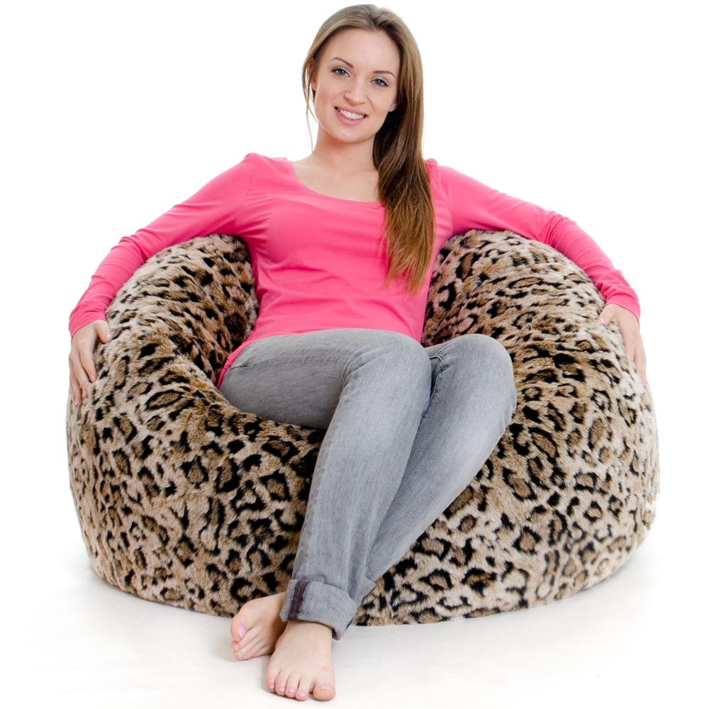 ICON™ Luxury Faux Fur XL Bean Bag Leopard